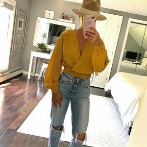 Wilfred mustard Reign blouse shirt crop gold small